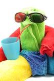 Towel man drinking Stock Photo