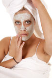 Towel mask green unsure Royalty Free Stock Image