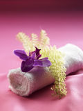 Towel and orchid Royalty Free Stock Photography