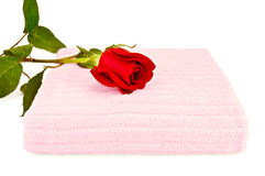 Towel pink with a red rose Stock Photo