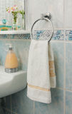 Towel on the rack. In the bathroom Royalty Free Stock Photo