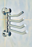 Towel rack. Close-up shoot of a chrome towel rack Royalty Free Stock Photography
