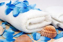 Towel ready for spa Royalty Free Stock Images