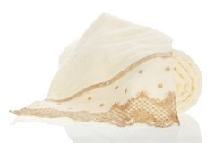 Towel a roll and towel with an embroidery Royalty Free Stock Photos