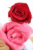 Towel and rose Stock Photos