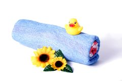 Towel and rubber duck Royalty Free Stock Images