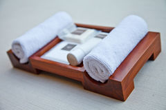 Towel set. In bathroom for health Royalty Free Stock Image