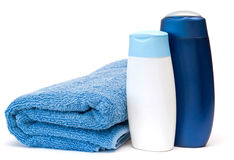 Towel and shampoo... Royalty Free Stock Photos