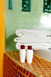 Towel, shampoo and gel in a bathroom Stock Image