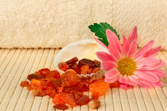 Towel, shell amber and a flower Royalty Free Stock Photo