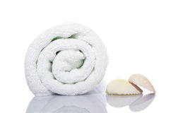Towel and shells Stock Photo
