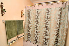 Towel and Shower Curtain. Towels near a shower curtain in a residential bathroom Royalty Free Stock Photo