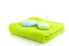 Towel with soap Royalty Free Stock Image