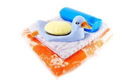 Towel and soap Royalty Free Stock Photo