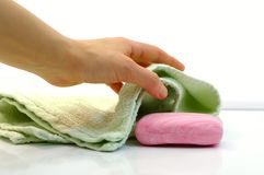 Towel and soap Stock Photography