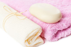 Towel and soap Royalty Free Stock Images