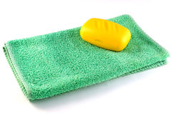 Towel and soap Royalty Free Stock Image
