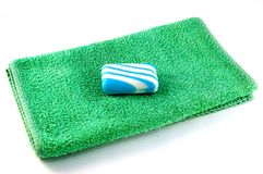 Towel and soap Stock Photo