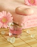 Towel, soap, candle and gerber. Royalty Free Stock Photos