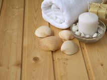 Towel,soap,candle and shells Stock Images