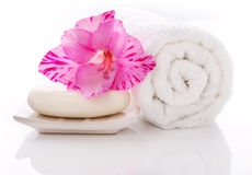 Towel Soap and flower Stock Photo