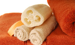 Towel, soap and loofah Royalty Free Stock Photos