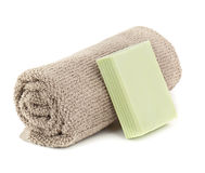 Towel and soap Stock Photos