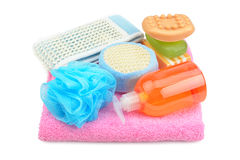 Towel, soap, shampoo and sponge Stock Image