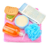 Towel, soap, shampoo, sponge Royalty Free Stock Images