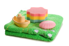Towel soap sponge toy boat Stock Images