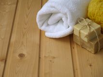 Towel,soap and sponge Stock Image