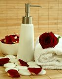 Towel, soap, stones and flowers. Stock Photography