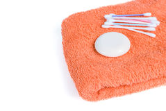 Towel and soap Royalty Free Stock Photography