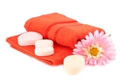 Towel and soaps Stock Photography