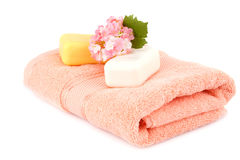 Towel and soaps Royalty Free Stock Images