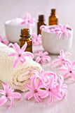 Towel Spa. Flowers pink hyacinth. Stock Photography