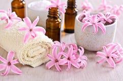 Towel Spa. Flowers pink hyacinth. Stock Photo