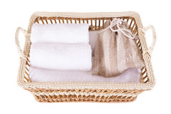Towel spa set in basket, top view Royalty Free Stock Images