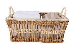 Towel spa set in basket Stock Images