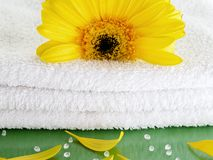 Towel spa white-green-yellow Stock Photography