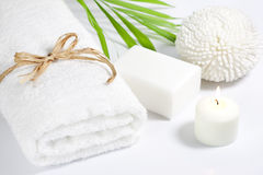 Towel and sponge spa bath concept Stock Image