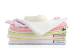Towel stack. Isolated Stock Photos