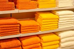 Towel stock. A lot of couloured towels royalty free stock photo