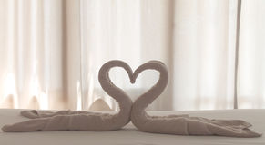 Towel Swan Heart. On the Bed Royalty Free Stock Photography