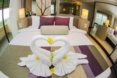 Towel in swan style Stock Images