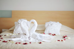Towel swans Stock Image