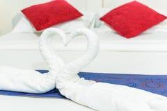 Towel swans shaped Royalty Free Stock Photos
