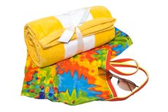 Towel Swimsuit and Glasses Royalty Free Stock Photos