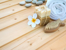 Towel, tiare flower, soap, stones  and fish shaped nail brush Royalty Free Stock Photos