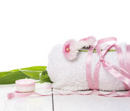 Towel, tied with Pink Ribbon,daisy flowers, isolated Stock Photos